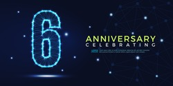 6 years anniversary celebrating numbers vector abstract polygonal silhouette. 6th anniversary concept illustration consisting of point, mesh and lines