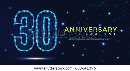 30 years anniversary celebrating numbers vector abstract polygonal silhouette. 30th anniversary concept. technology numbers vector illustration
