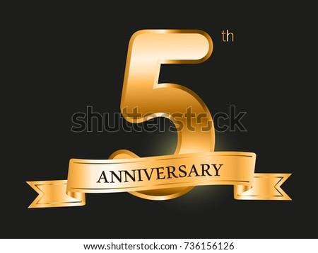 5 Years Anniversary Celebration Design5th Anniversary Golden Logo