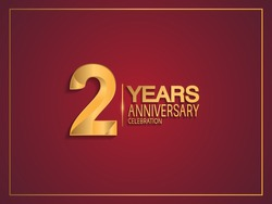 2 years anniversary celebration design with golden color isolated on red background for celebration event