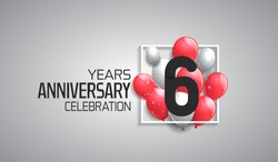 6 years anniversary celebration for company with balloons in square isolated on white background