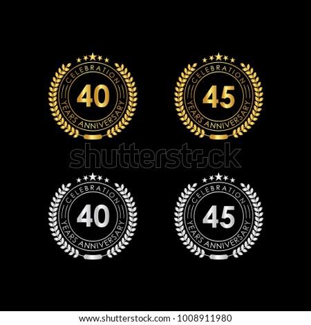 40 45 Years Anniversary Celebration Label