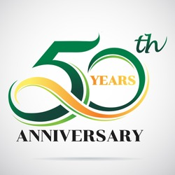 50 years anniversary celebration logo design with decorative ribbon or banner. Happy birthday design of 50th years anniversary celebration.