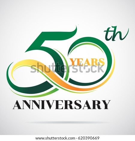 Shutterstock 50 years anniversary celebration logo design with decorative ribbon or banner. Happy birthday design of 50th years anniversary celebration.