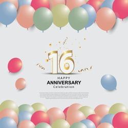 16 years anniversary celebration logo vector template design illustration