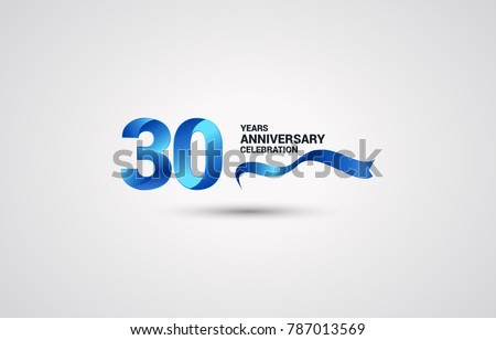 30 Years Anniversary celebration logotype colored with shiny blue, using ribbon and isolated on white background