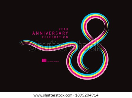 8 years anniversary celebration logotype colorful line vector, 8th birthday logo, 8 number, Banner template, vector design template elements for invitation card and poster.