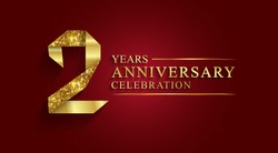 2 years anniversary celebration logotype style gift paper. Logo ribbon golden number on red background.