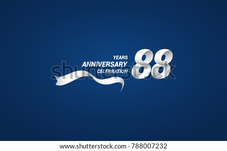 88 Years Anniversary celebration logotype white colored, using ribbon and isolated on blue background