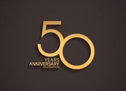 50 years anniversary celebration logotype with elegant gold color for celebration