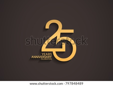 25 years anniversary celebration logotype with elegant gold color for celebration Foto stock ©