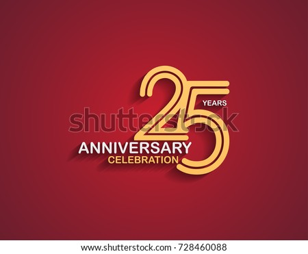 25 years anniversary celebration logotype with linked number gold and silver color isolated on red color. vector anniversary for celebration, invitation card, and greeting card