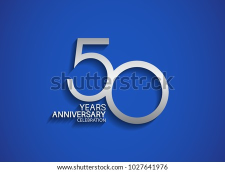 Shutterstock 50 years anniversary celebration logotype with silver color isolated on blue background