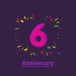 6 Years Anniversary Celebration Vector Template Design Illustration