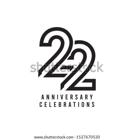 22 Years Anniversary Celebration Vector Template Design Illustration Сток-фото ©