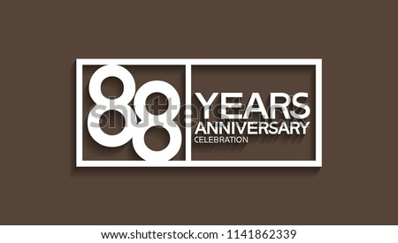88 years anniversary celebration white square style isolated on brown background