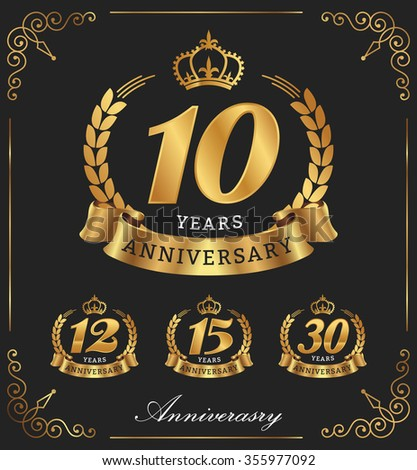 10 Years Anniversary decorative logo. Vector illustration