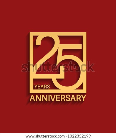 25 years anniversary design logotype golden color in square isolated on red background for celebration event Foto stock ©