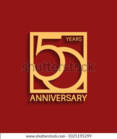 50 years anniversary design logotype golden color in square isolated on red background for celebration event