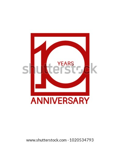 10 years anniversary design logotype with red color in square isolated on white background for celebration