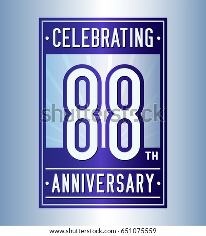 88 years anniversary design template. Vector and illustration