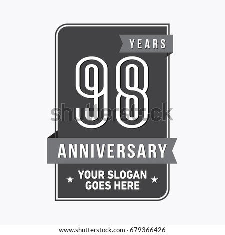 98 years anniversary design template. Vector and illustration.