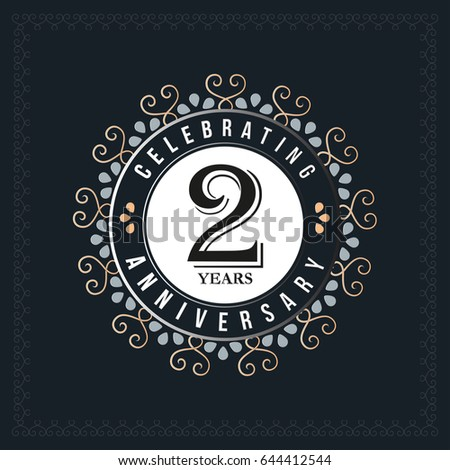 2 years anniversary design template. Vector and illustration. celebration anniversary logo. classic, vintage style
