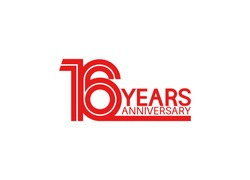 16 years anniversary design with red multiple line style isolated on white background for celebration