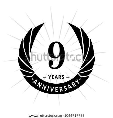 9 years anniversary. Elegant anniversary design. 9 years logo.
