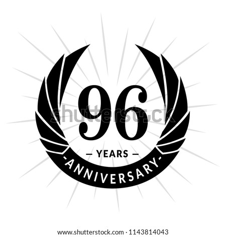 96 years anniversary. Elegant anniversary design. 96 years logo.