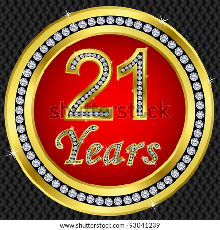 21 years anniversary golden icon with diamonds, vector illustration