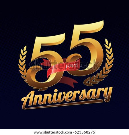 55 Years Anniversary Golden Logo Celebration with Red Ribbon