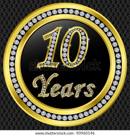 10 years anniversary happy birthday golden icon with diamonds vector