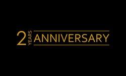 2 years anniversary icon. 2nd birthday emblem. Anniversary design element. Vector illustration.
