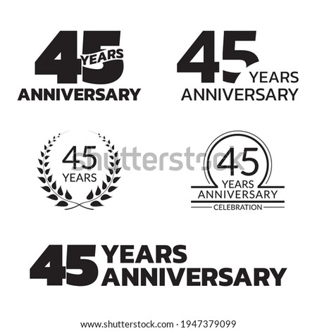 45 years anniversary icon or logo set. 45th birthday celebration badge or label for invitation card, jubilee design. Vector illustration. Photo stock ©