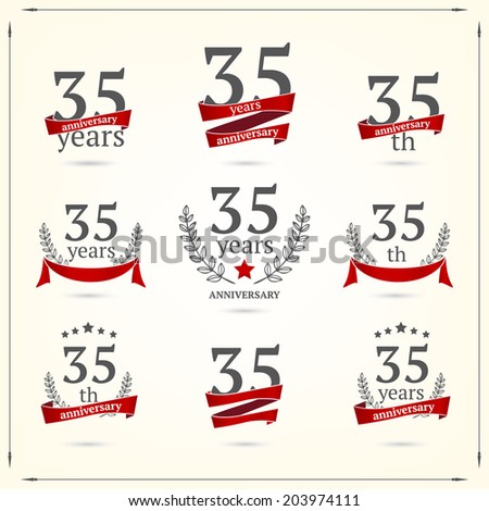 35 years anniversary icons collection