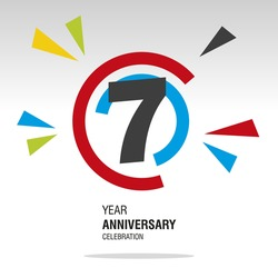 7 Years Anniversary in circle colorful modern logo icon banner white background