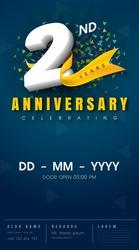 2 years anniversary invitation card - celebration template  design , 2nd anniversary modern design elements, dark blue  background - vector illustration
