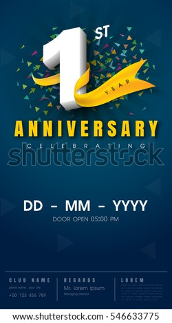 Royalty free stock photos and images 1 years anniversary invitation 1 years anniversary invitation card celebration template design 1st anniversary modern design elements stopboris Images