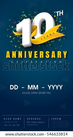 10 years anniversary invitation card - celebration template  design , 10th anniversary modern design elements, dark blue  background - vector illustration Foto stock ©