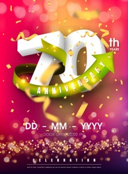70 years anniversary invitation card - celebration templatedesign , 70th anniversary modern design elements and confetti, bokeh pink purple background - vector illustration colorful invitation card.