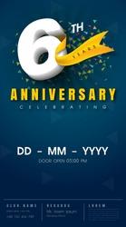 6 years anniversary invitation card - celebration template  design , 6th anniversary modern design elements, dark blue  background - vector illustration