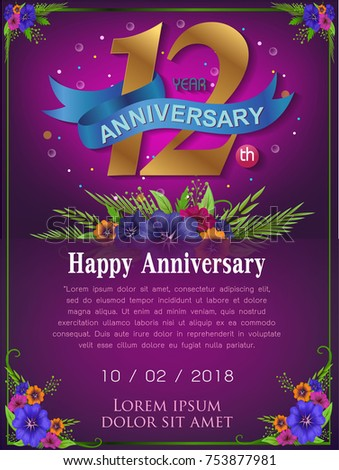 12 years anniversary invitation card - celebration template design , 10th anniversary modern design elements, dark blue background - vector illustration