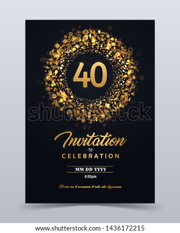 40 years anniversary invitation card template isolated vector illustration. Number forty Black greeting card template