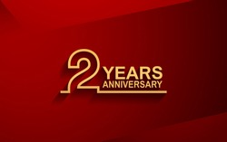 2 years anniversary line style design golden color with elegance red background for celebration