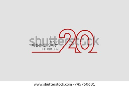 Shutterstock 20 years anniversary linked logotype with red color isolated on white background for company celebration event