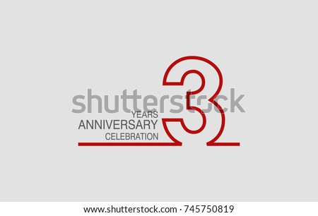 3 years anniversary linked logotype with red color isolated on white background for company celebration event