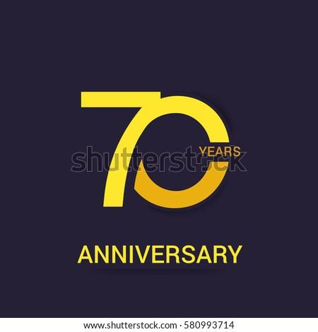 70 Years Anniversary  Logo Celebration,Yellow Flat Design Isolated on Purple Background