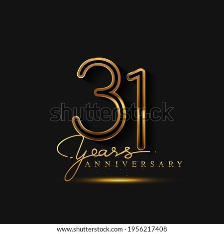 31 Years Anniversary Logo Golden Colored isolated on black background, vector design for greeting card and invitation card Zdjęcia stock ©