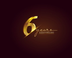 6 Years Anniversary Logo Golden Colored isolated on elegant background, vector design for greeting card and invitation card